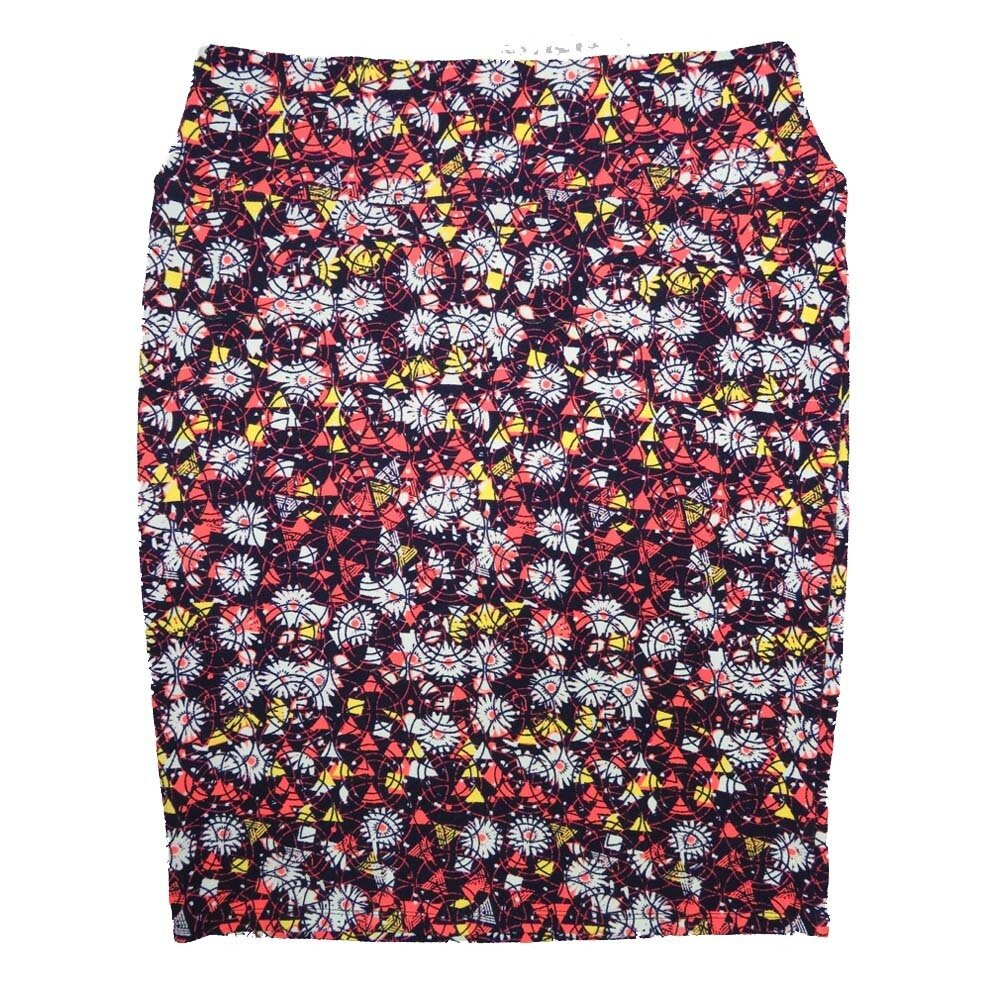 Cassie XX-Large (2XL) LuLaRoe Floral Geometric Pink Yellow Lavender Womens Knee Length Pencil Skirt Fits 22-24