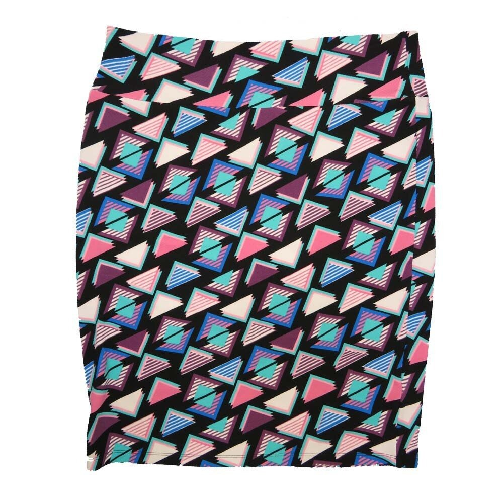 Cassie XX-Large (2XL) LuLaRoe Geometric Triangles Blue Pink Black Womens Knee Length Pencil Skirt Fits 22-24
