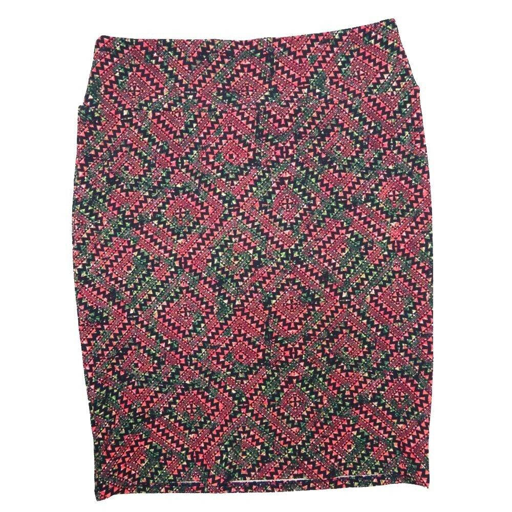 Cassie XX-Large (2XL) LuLaRoe Geometric Checker Dark Green Black Pink Womens Knee Length Pencil Skirt Fits 22-24
