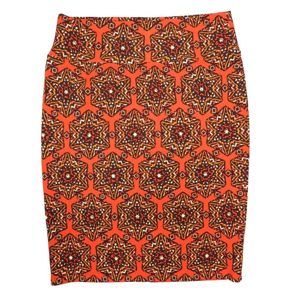 Cassie XX-Large (2XL) LuLaRoe Mandala Geometric Polka Dot Orange Black Womens Knee Length Pencil Skirt Fits 22-24