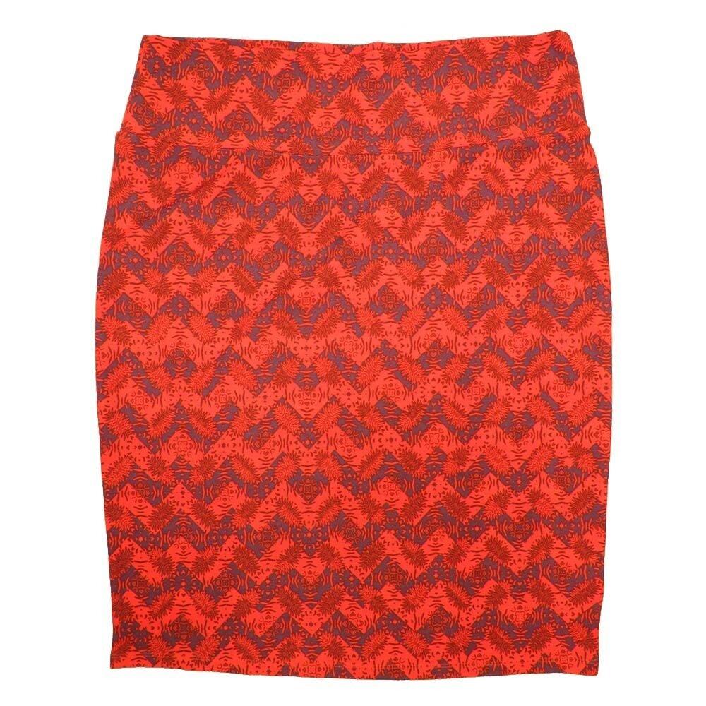 Cassie XX-Large (2XL) LuLaRoe Zig Zag Stripe Pink Blue Red Womens Knee Length Pencil Skirt Fits 22-24