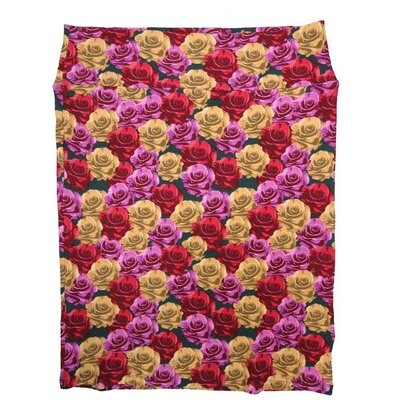 Cassie XX-Large (2XL) LuLaRoe Roses Red Gold Purple Womens Knee Length Pencil Skirt Fits 22-24