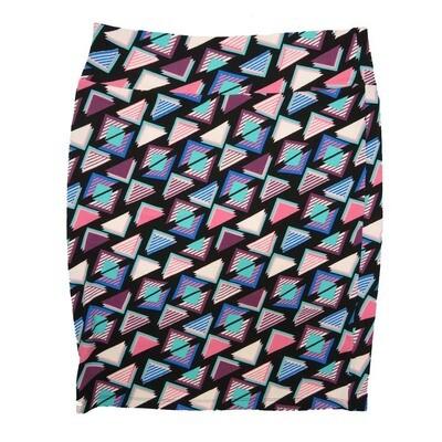 Cassie XX-Large (2XL) LuLaRoe Geometric Triangles Blue Pink Black Womens Knee Length Pencil Skirt Fits 22-24