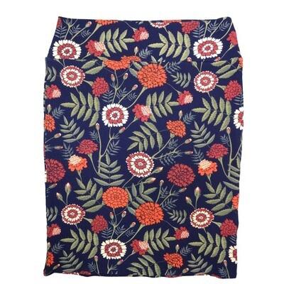 Cassie XX-Large (2XL) LuLaRoe Floral Ark Blue Orange Green Womens Knee Length Pencil Skirt Fits 22-24