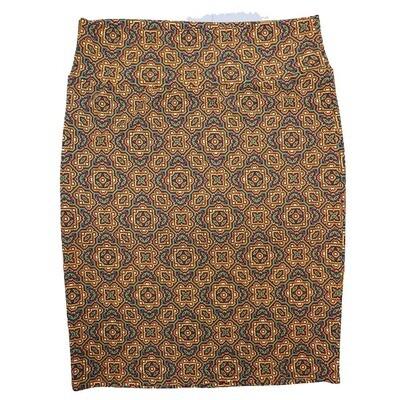Cassie XX-Large (2XL) LuLaRoe Mandala Geometric Trippy Orange Purple Green Womens Knee Length Pencil Skirt Fits 22-24