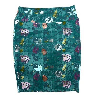 Cassie XX-Large (2XL) LuLaRoe Geometric Polka Dot Dark Green White Orange Womens Knee Length Pencil Skirt Fits 22-24
