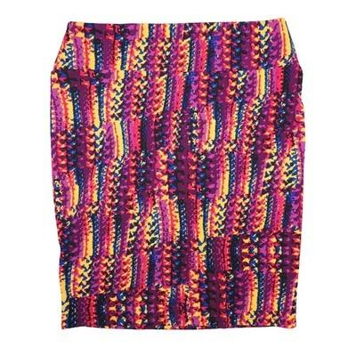Cassie XX-Large (2XL) LuLaRoe Trippy Geometric Stripe Purple Yellow Blue Womens Knee Length Pencil Skirt Fits 22-24