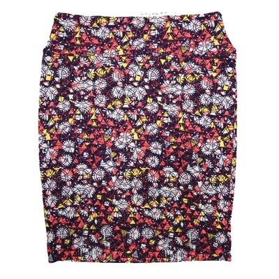 Cassie XX-Large (2XL) LuLaRoe Floral Geometric Pink Yellow Lavender Womens Knee Length Pencil Skirt Fits 22-24