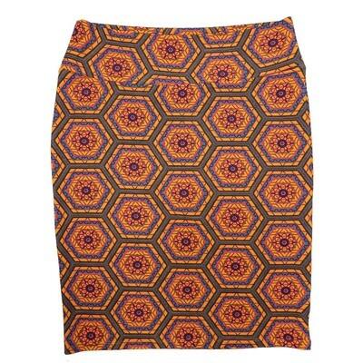 Cassie XX-Large (2XL) LuLaRoe Mandala Geometric Polka Dot Orange Pink Blue Womens Knee Length Pencil Skirt Fits 22-24