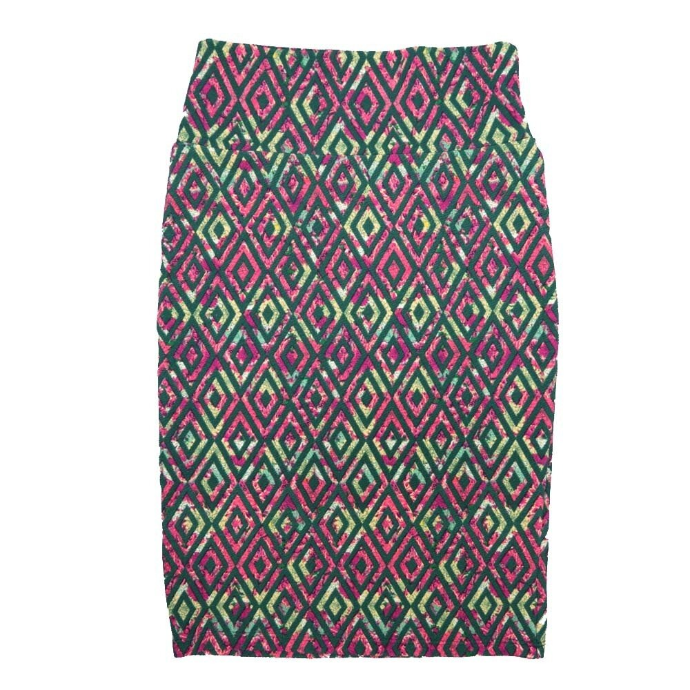 Cassie X-Small (XS) LuLaRoe Diamond Geometric Dark Green Pink Yellow Womens Knee Length Pencil Skirt Fits 2-4