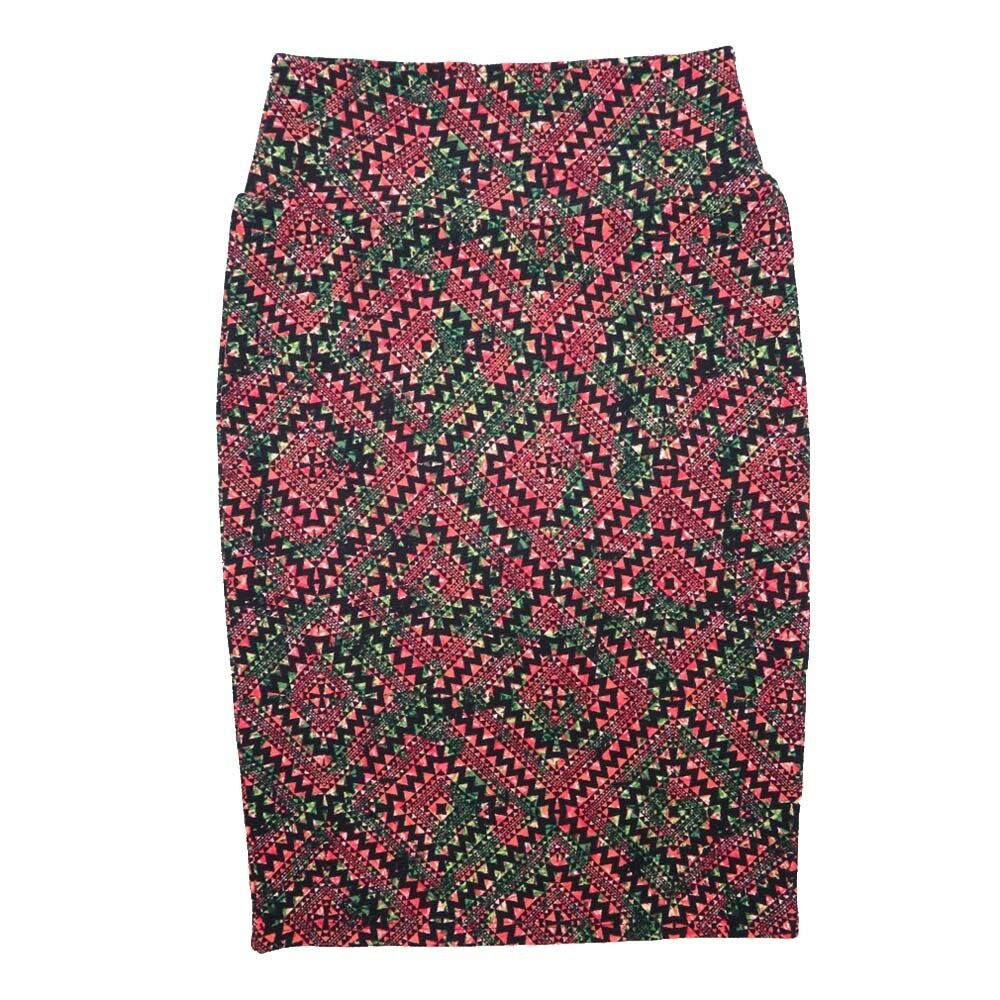 Cassie X-Small (XS) LuLaRoe Gods Eye Checkerboard Geometric Pink Black Green Womens Knee Length Pencil Skirt Fits 2-4