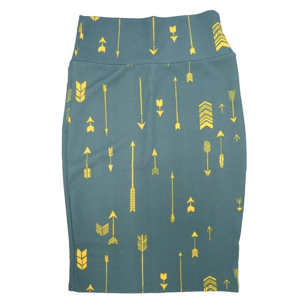 Cassie X-Small (XS) LuLaRoe Arrows Stripe Green Yellow Womens Knee Length Pencil Skirt Fits 2-4
