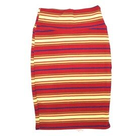 Cassie X-Small (XS) LuLaRoe Stripe Yellow Red Blue Womens Knee Length Pencil Skirt Fits 2-4