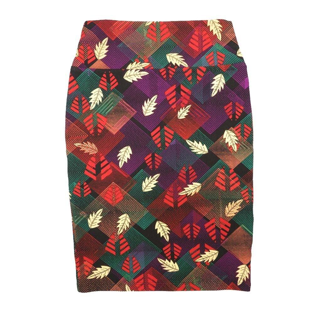 Cassie X-Small (XS) LuLaRoe Geometric Leaves Purple Yellow Orange Green Womens Knee Length Pencil Skirt Fits 2-4