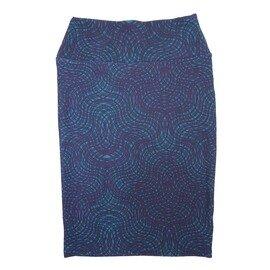Cassie X-Small (XS) LuLaRoe Wavy Criss Cross Stripe Navy Light Blue Womens Knee Length Pencil Skirt Fits 2-4