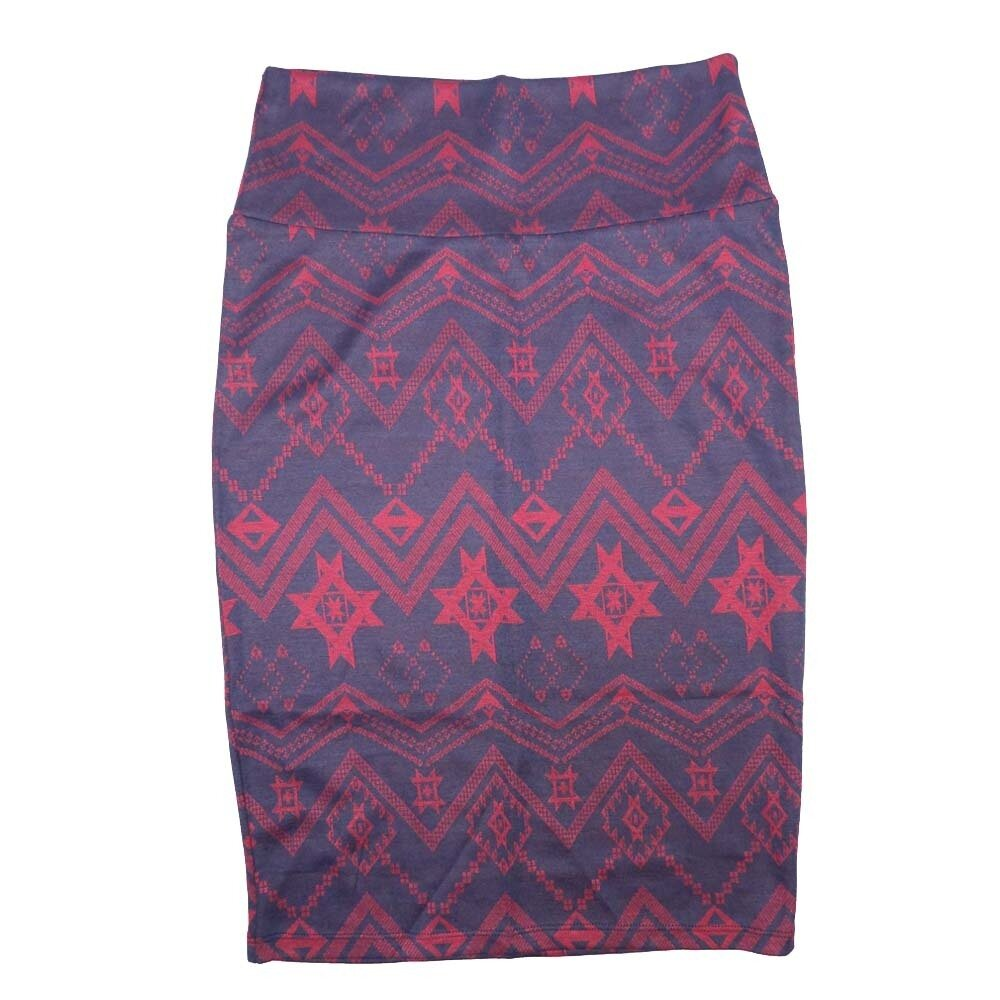Cassie X-Small (XS) LuLaRoe Geometric Aztek Southwestern Blue Pink Womens Knee Length Pencil Skirt Fits 2-4