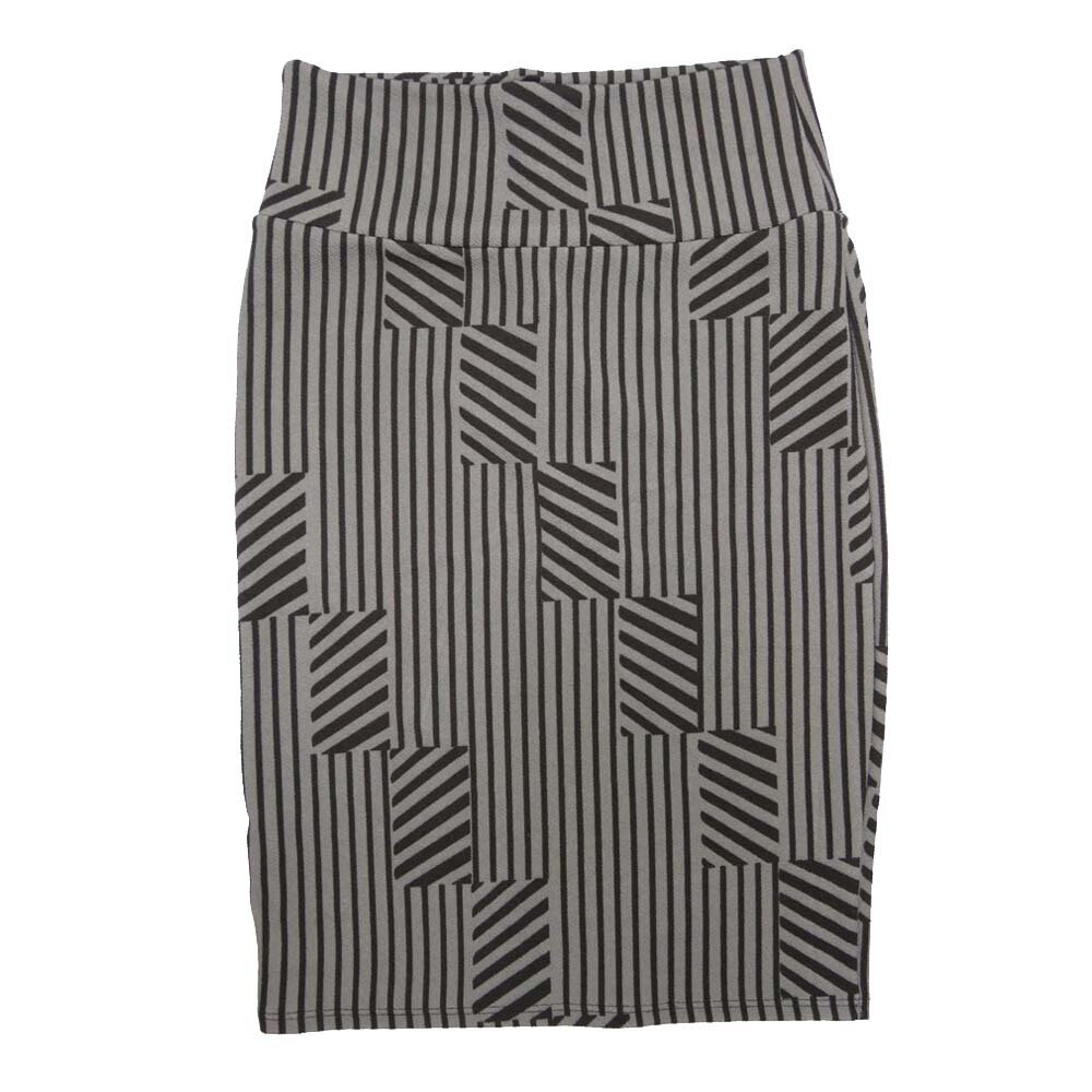 Cassie X-Small (XS) LuLaRoe Stripe Black Gray Womens Knee Length Pencil Skirt Fits 2-4