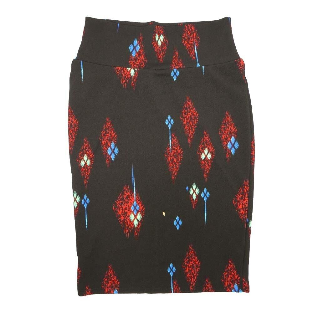 Cassie X-Small (XS) LuLaRoe Geometric Diamond Black Light Blue Red Womens Knee Length Pencil Skirt Fits 2-4
