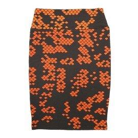 Cassie X-Small (XS) LuLaRoe Geometric Polka Dot Black Orange Womens Knee Length Pencil Skirt Fits 2-4
