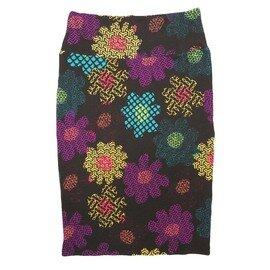 Cassie X-Small (XS) LuLaRoe Geometric Polka Dot Floral Black Purple Yellow Blue Womens Knee Length Pencil Skirt Fits 2-4