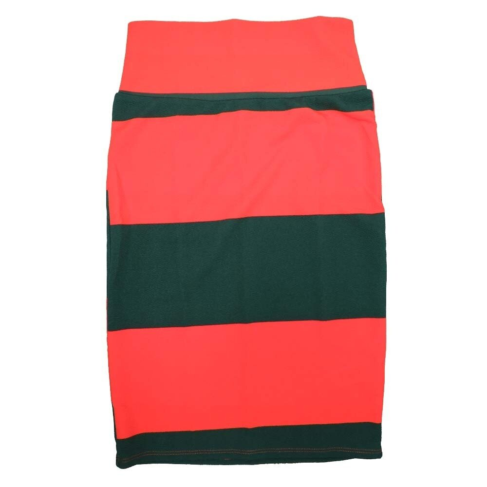 Cassie X-Small (XS) LuLaRoe Two Tone Solid Stripe Red Dark Green Womens Knee Length Pencil Skirt Fits 2-4
