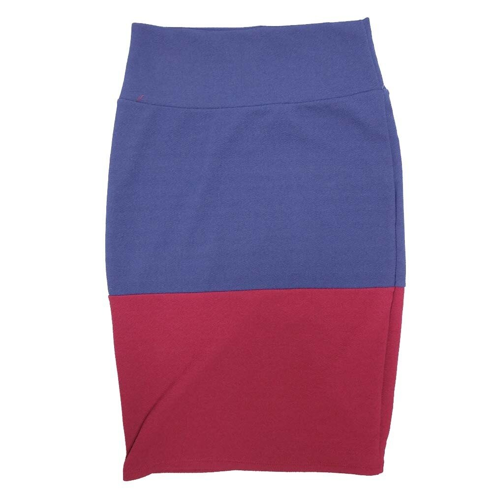 Cassie X-Small (XS) LuLaRoe Two Tone Solid Maroon Blue Womens Knee Length Pencil Skirt Fits 2-4