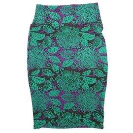 Cassie X-Small (XS) LuLaRoe Floral Purple Green Womens Knee Length Pencil Skirt Fits 2-4