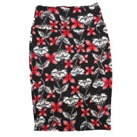 Cassie X-Small (XS) LuLaRoe Floral Black White Gray Red Womens Knee Length Pencil Skirt Fits 2-4