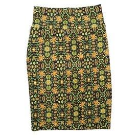 Cassie X-Small (XS) LuLaRoe Geometric Triangles Black Yellow Orange Womens Knee Length Pencil Skirt Fits 2-4