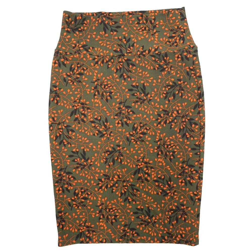 Cassie X-Small (XS) LuLaRoe Floral Dark Green Orange Black Womens Knee Length Pencil Skirt Fits 2-4