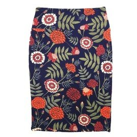 Cassie X-Small (XS) LuLaRoe Floral Navy Green White Orange Womens Knee Length Pencil Skirt Fits 2-4