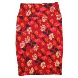 Cassie X-Small (XS) LuLaRoe Floral Red Cream Pink Womens Knee Length Pencil Skirt Fits 2-4