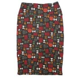 Cassie X-Small (XS) LuLaRoe Geometric Floral Black White Gray Womens Knee Length Pencil Skirt Fits 2-4