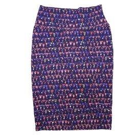 Cassie X-Small (XS) LuLaRoe Geometric Triangle Polka Dot Purple Pink Womens Knee Length Pencil Skirt Fits 2-4