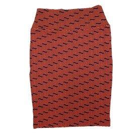 Cassie X-Small (XS) LuLaRoe Wavy Trippy Stripe Black Orange Womens Knee Length Pencil Skirt Fits 2-4