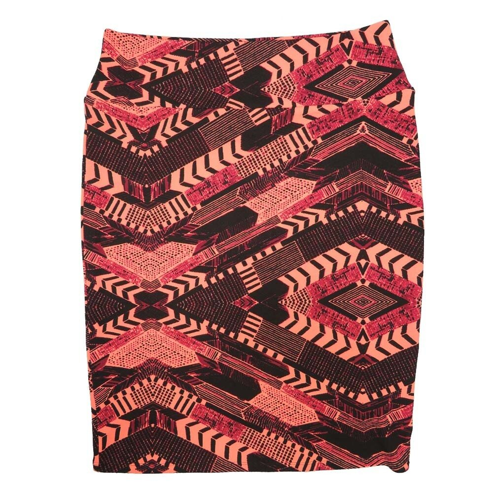 Cassie X-Large (XL) LuLaRoe Gods Eye Zig Zag Chevron Dark Pink Light Pink Black Womens Knee Length Pencil Skirt Fits 18-20