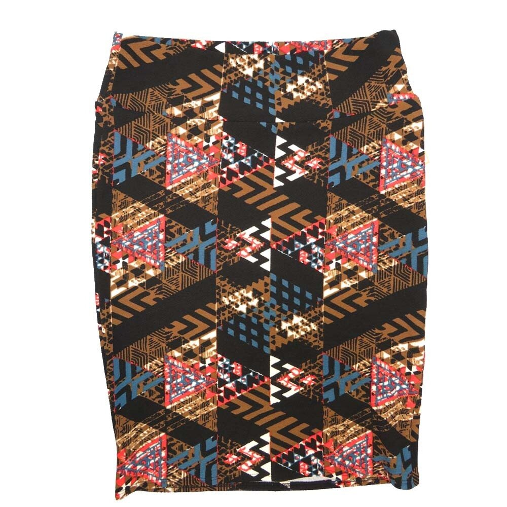 Cassie X-Large (XL) LuLaRoe Geometric Stripe Zig Zag Brown White Coral Blue Womens Knee Length Pencil Skirt Fits 18-20