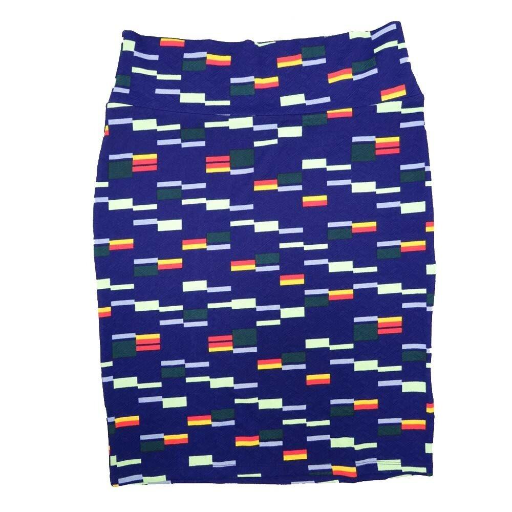 Cassie X-Large (XL) LuLaRoe Geometric Stripe Zig Zag Dark Blue Cream Yellow Womens Knee Length Pencil Skirt Fits 18-20