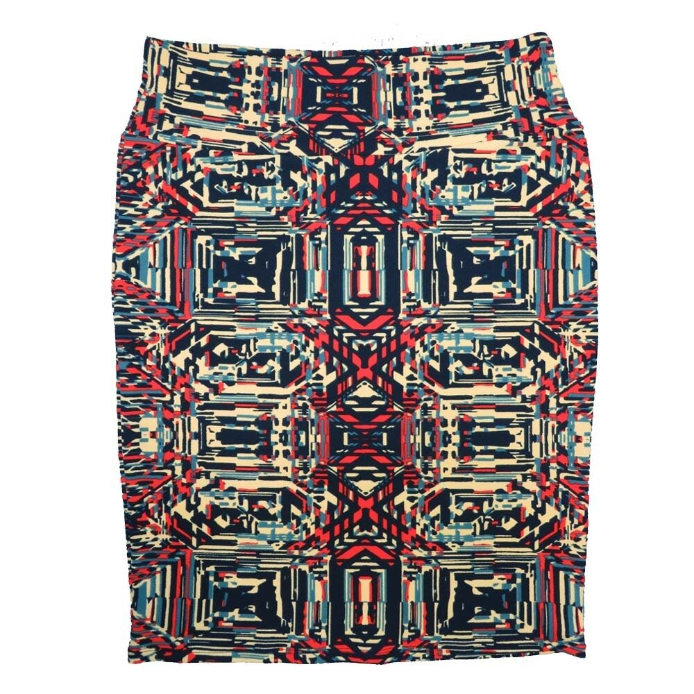 Cassie X-Large (XL) LuLaRoe Trippy Geometric Cream Red Blue Womens Knee Length Pencil Skirt Fits 18-20