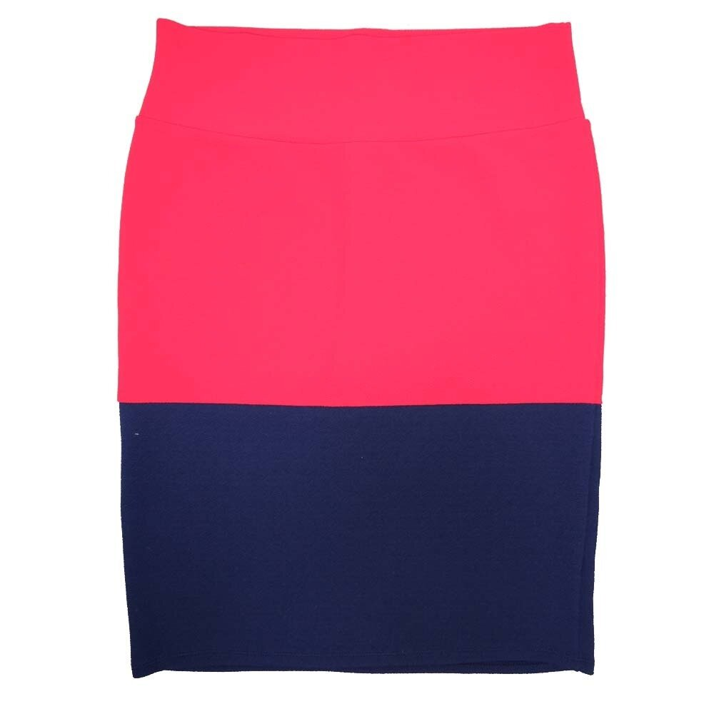 Cassie X-Large (XL) LuLaRoe Two Tone Solid Red Navy Womens Knee Length Pencil Skirt Fits 18-20
