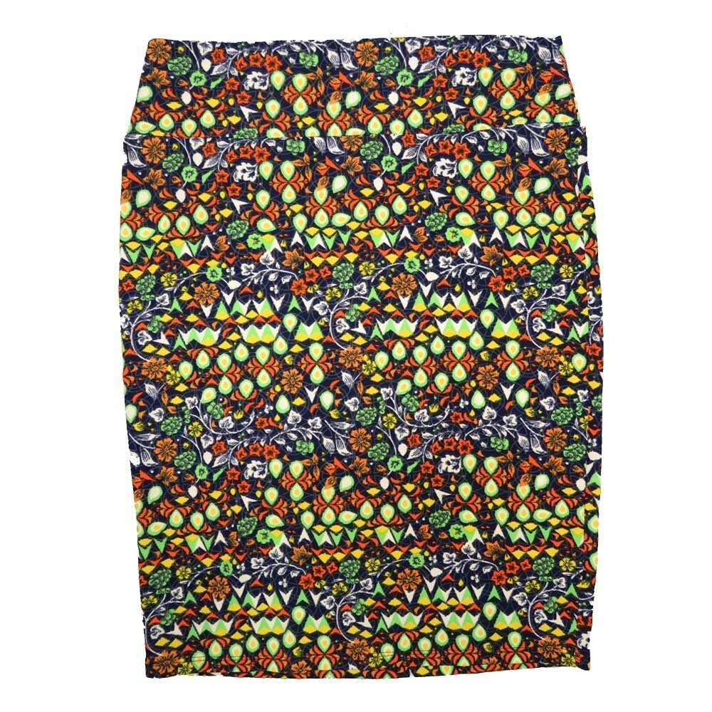 Cassie X-Large (XL) LuLaRoe Floral Geometric Yellow Orange Green Womens Knee Length Pencil Skirt Fits 18-20