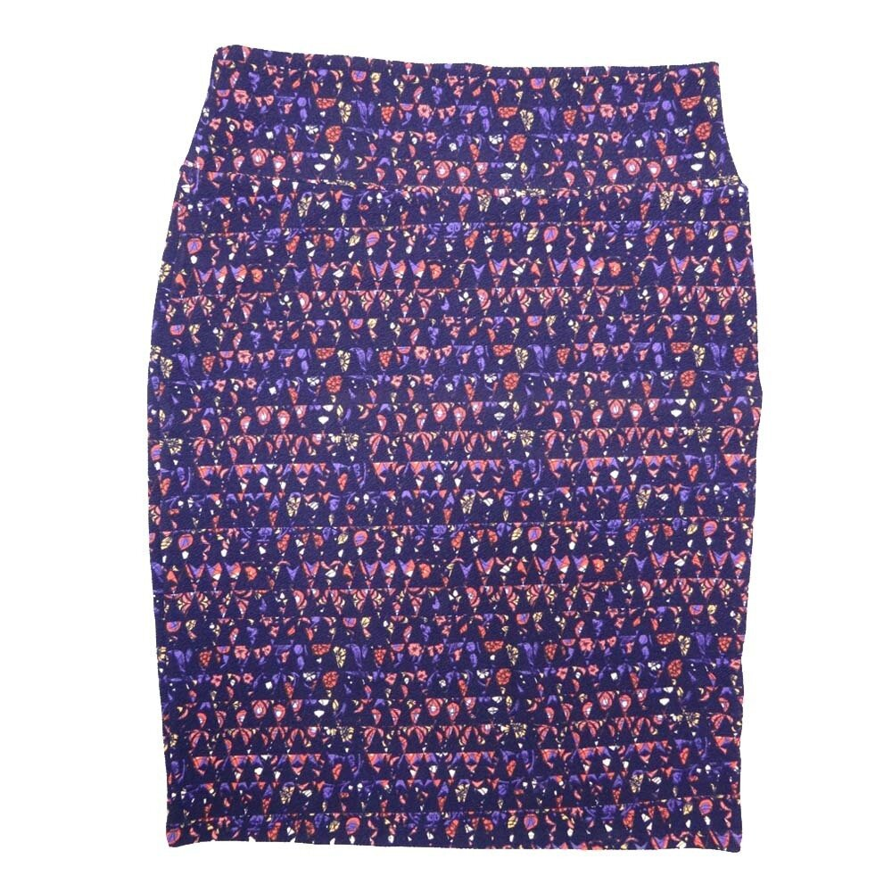 Cassie X-Large (XL) LuLaRoe Geometric Triangles Purple Pink White Womens Knee Length Pencil Skirt Fits 18-20