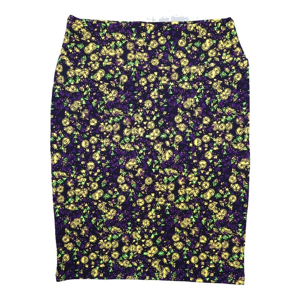 Cassie X-Large (XL) LuLaRoe Floral Geometric Purple Yellow Womens Knee Length Pencil Skirt Fits 18-20