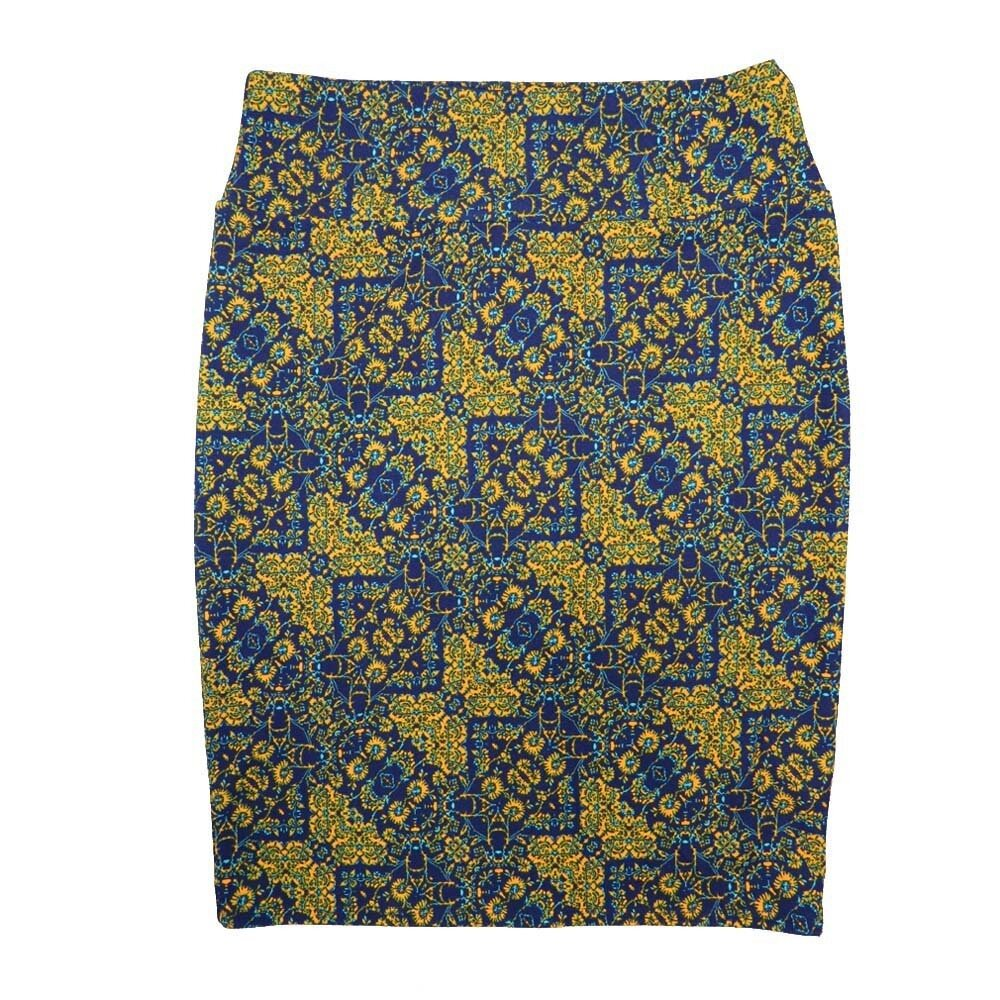 Cassie X-Large (XL) LuLaRoe Geometric Yellow Blue Womens Knee Length Pencil Skirt Fits 18-20