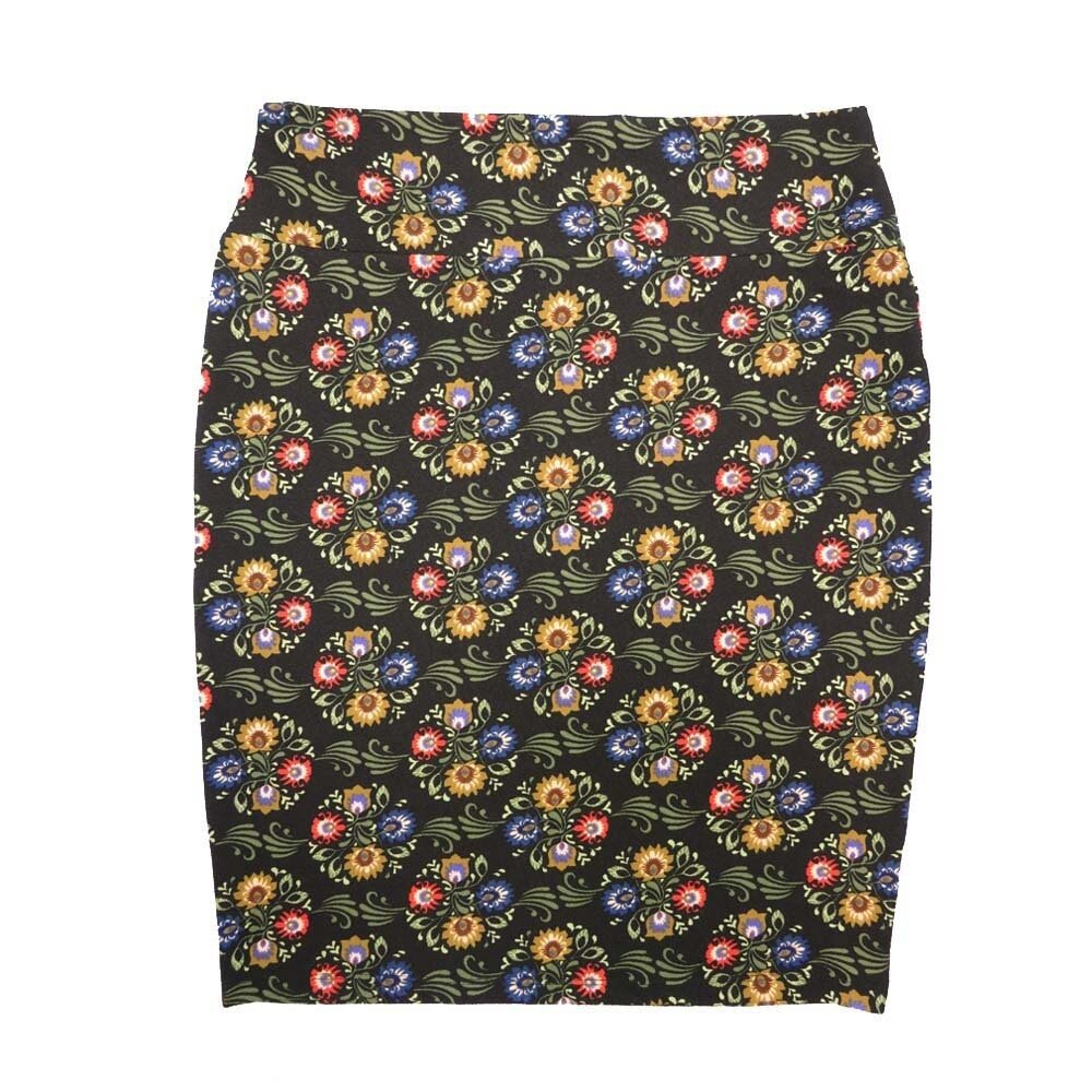 Cassie X-Large (XL) LuLaRoe Floral Black Yellow Red Womens Knee Length Pencil Skirt Fits 18-20