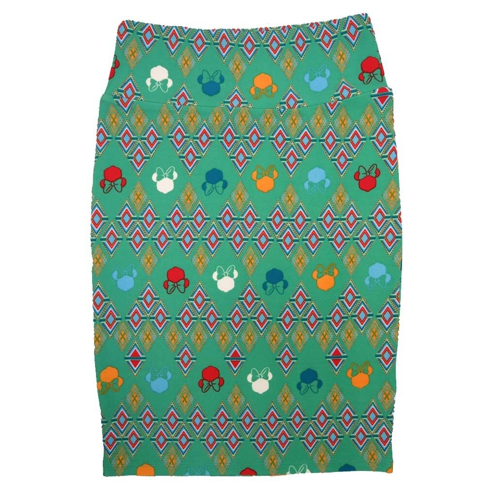 Cassie Small (S) LuLaRoe Disney Minnie Green Red Blue Orange White Womens Knee Length Pencil Skirt Fits 6-8