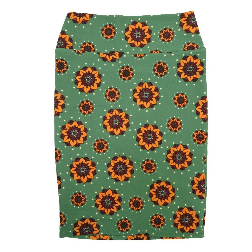 Cassie Small (S) LuLaRoe Light Green Orange Red Floral Womens Knee Length Pencil Skirt Fits 6-8