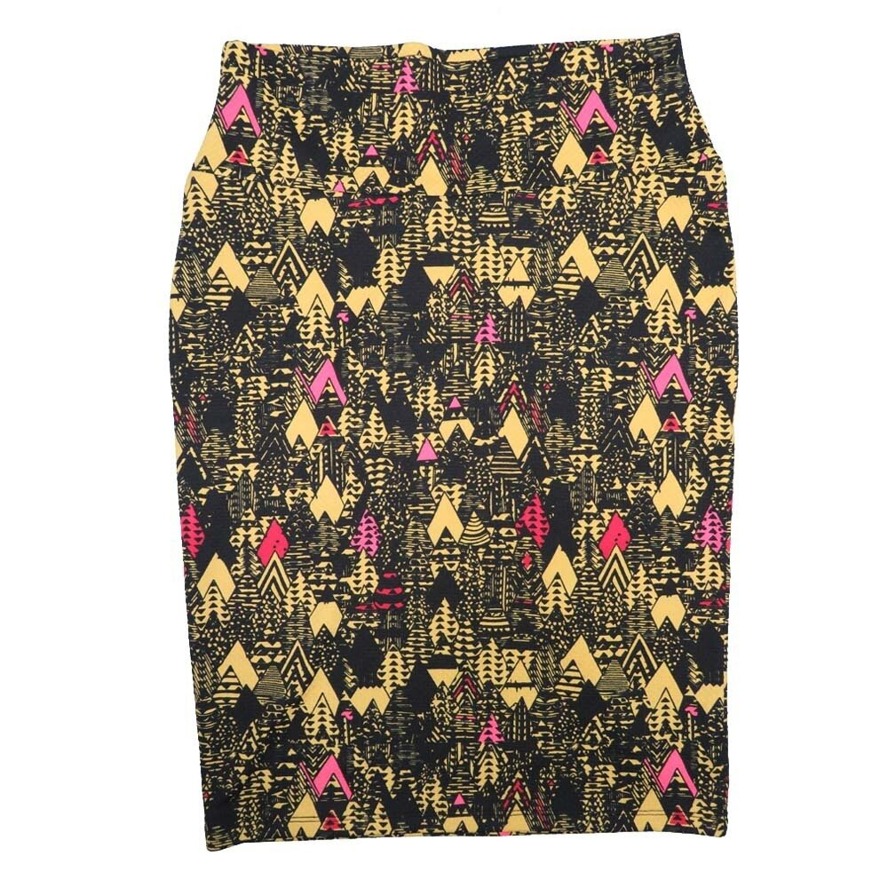 Cassie Small (S) LuLaRoe Black Yellow Pink Arrows Womens Knee Length Pencil Skirt Fits 6-8