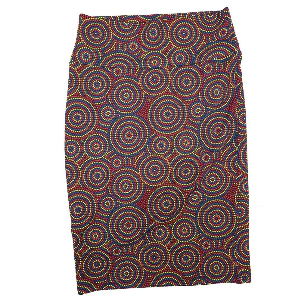 Cassie Small (S) LuLaRoe Polka Red Blue Yellow Womens Knee Length Pencil Skirt Fits 6-8