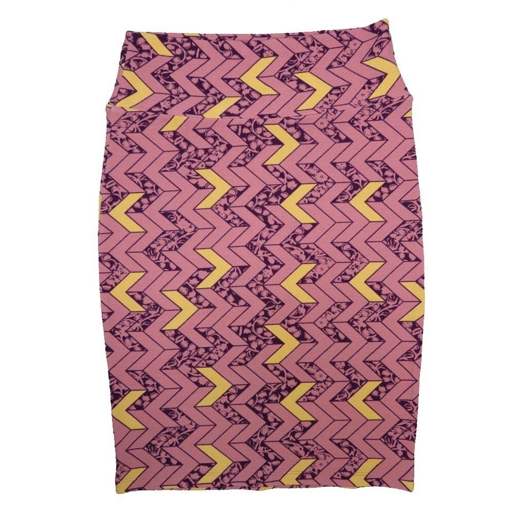 Cassie Small (S) LuLaRoe Dusty Rose Gold Purple Arrows Womens Knee Length Pencil Skirt Fits 6-8